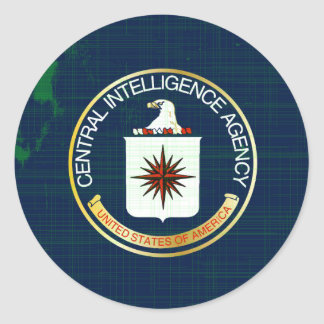 CIA Flag Grunge Round Sticker