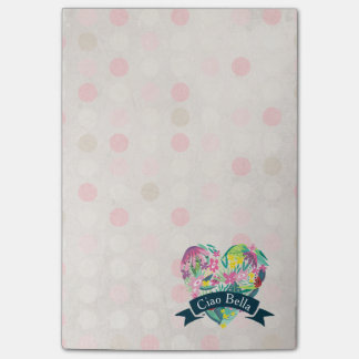 Ciao Bella Cute Floral Heart on Pink Circles Post-it® Notes
