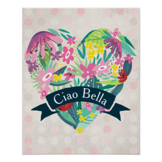 Ciao Bella Cute Floral Heart on Pink Circles Poster
