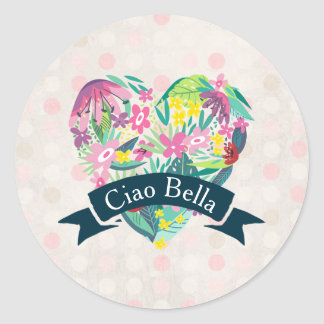 Ciao Bella Cute Floral Heart on Pink Circles Round Sticker