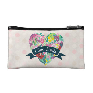 Ciao Bella Cute Floral Heart with Tropical Flower Cosmetic Bag