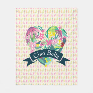Ciao Bella Cute Floral Heart with Tropical Flowers Fleece Blanket