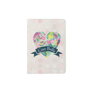 Ciao Bella Cute Floral Heart with Tropical Flowers Passport Holder