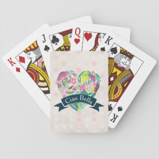 Ciao Bella Cute Floral Heart with Tropical Flowers Poker Deck