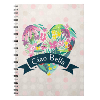 Ciao Bella Cute Floral Heart with Tropical Flowers Spiral Notebook
