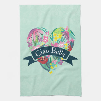 Ciao Bella Cute Floral Heart with Tropical Flowers Tea Towel