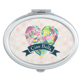 Ciao Bella Cute Floral Heart with Tropical Flowers Travel Mirrors