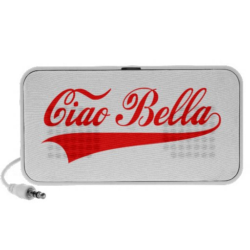 ciao bella, Italian greeting, word art text design iPod Speaker