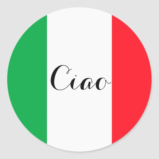 Ciao Italy with the italian flag Classic Round