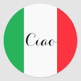 Ciao Italy with the italian flag Round Sticker