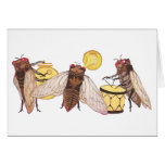 Cicada Band with Gong, Trumpet and Drum Greeting Card