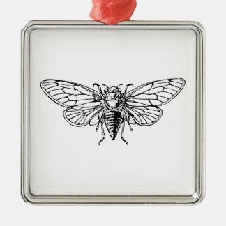 Cicada Square Metal Christmas Ornament