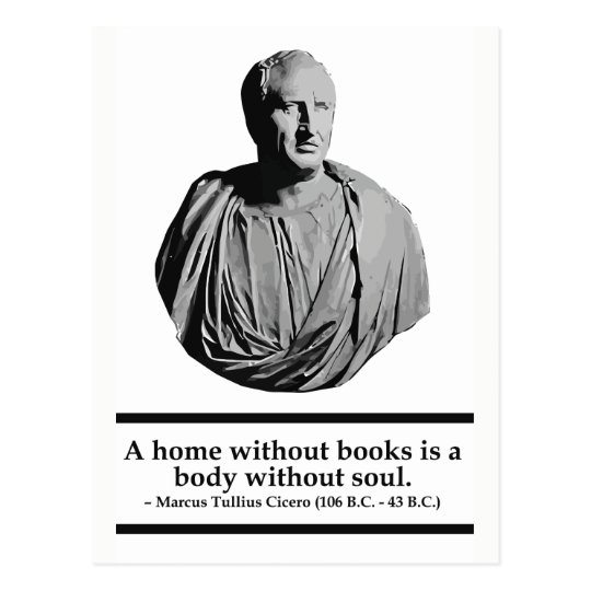 Cicero - A home without books quote postcard