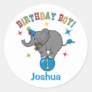 Cicus Elephant 1st Birthday Classic Round Sticker