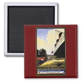 Cie Gie Transatlantique Vintage Travel Ad Square Magnet