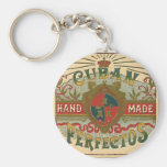 Cigar Ad for Cuban Perfectos Tobacco Label Basic Round Button Key Ring