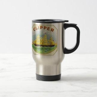Cigar Box Graphic of Clipper Sailboat Travel Mug
