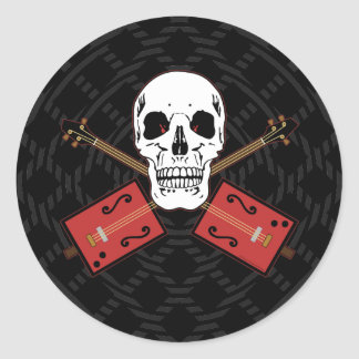 Cigar Box Guitar Skull Classic Round Sticker