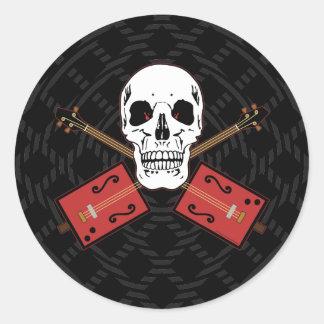 Cigar Box Guitar Skull Round Sticker