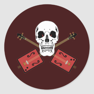 Cigar Box Guitar Skull Round Sticker
