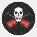 Cigar Box Guitar Skull Round Stickers