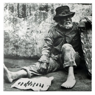 Cigar-end Seller, c,1865 (b/w photo) Large Square Tile