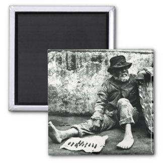 Cigar-end Seller, c,1865 (b/w photo) Square Magnet