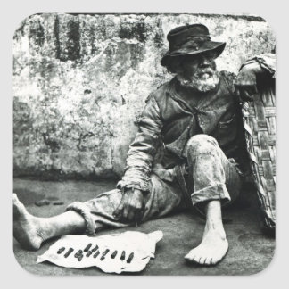 Cigar-end Seller, c,1865 (b/w photo) Square Stickers