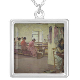 Cigar Makers at Seville Silver Plated Necklace