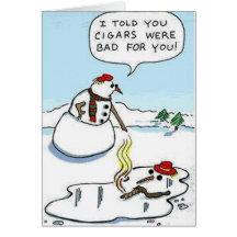 Cigar Melting Snowman Greeting Card