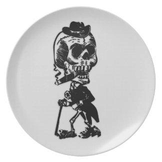 Cigar Smoking Cowboy Skeleton Dinner Plate