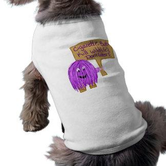 cigarette butts kill wildlife! don't litter! sleeveless dog shirt