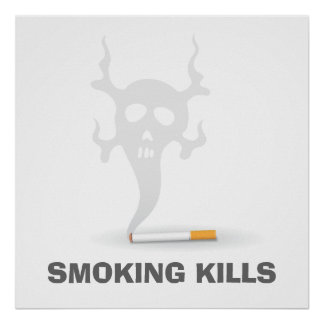 Cigarette with scull smoke, anti smoking poster