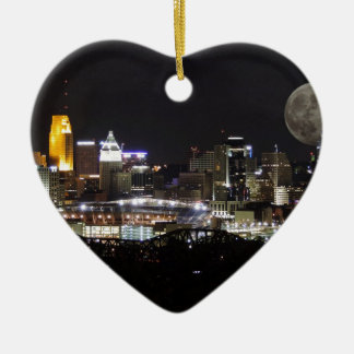 Cincinnat skyline with the moon from above christmas ornament