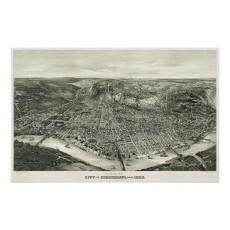 Cincinnati birdseye map - 1900 (Henderson) BigMapB Poster