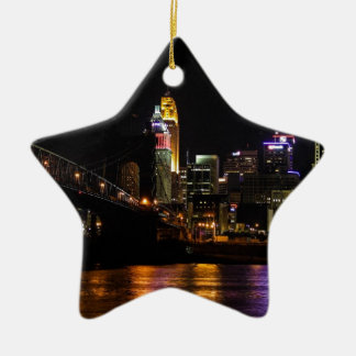 Cincinnati by Night Ceramic Star Decoration