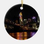 Cincinnati by Night Round Ceramic Decoration