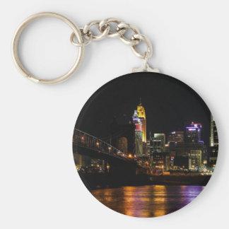 Cincinnati Cityscape Basic Round Button Key Ring