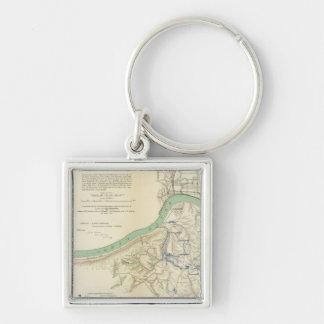 Cincinnati, Covington, Newport Silver-Colored Square Key Ring