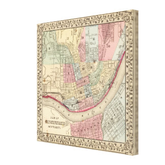 Cincinnati Map by Mitchell Canvas Print