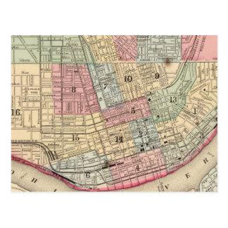 Cincinnati Map by Mitchell Postcard
