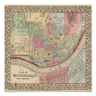 Cincinnati Map by Mitchell Poster