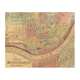 Cincinnati Map by Mitchell Wood Prints