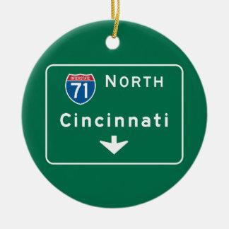 Cincinnati, OH Road Sign Round Ceramic Decoration