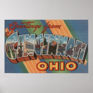 Cincinnati, Ohio - Large Letter Scenes Poster