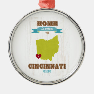 Cincinnati, Ohio Map – Home Is Where The Heart Is Silver-Colored Round Decoration
