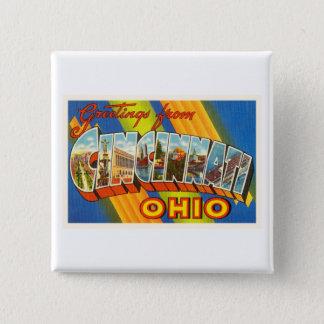 Cincinnati Ohio OH Old Vintage Travel Souvenir 15 Cm Square Badge