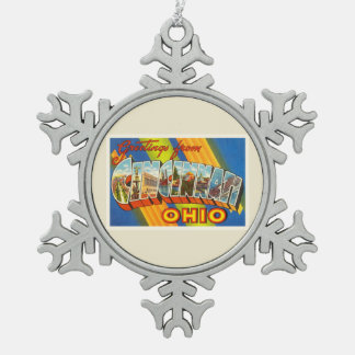 Cincinnati Ohio OH Old Vintage Travel Souvenir Snowflake Pewter Christmas Ornament