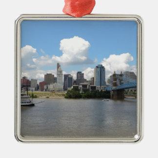 Cincinnati, Ohio skyline with the Ohio River Christmas Ornament