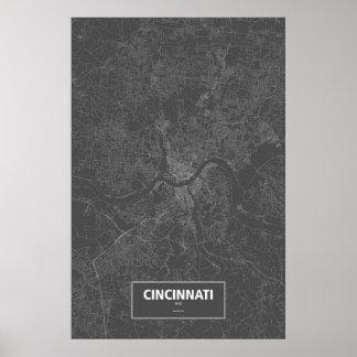 Cincinnati, Ohio (white on black) Poster